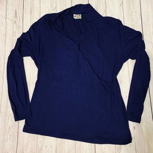 Haley & the Hound Faux Wrap Top Navy Blue Size XL